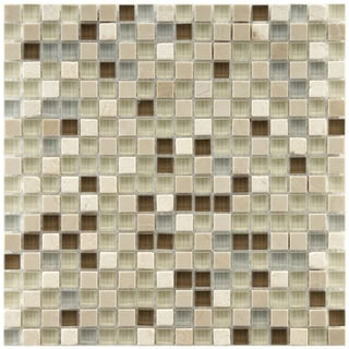 Somertile 11.75x11.75-in Reflections Mini 9/16-in York Stone/ Glass Mosaic Tile (Pack of 10)