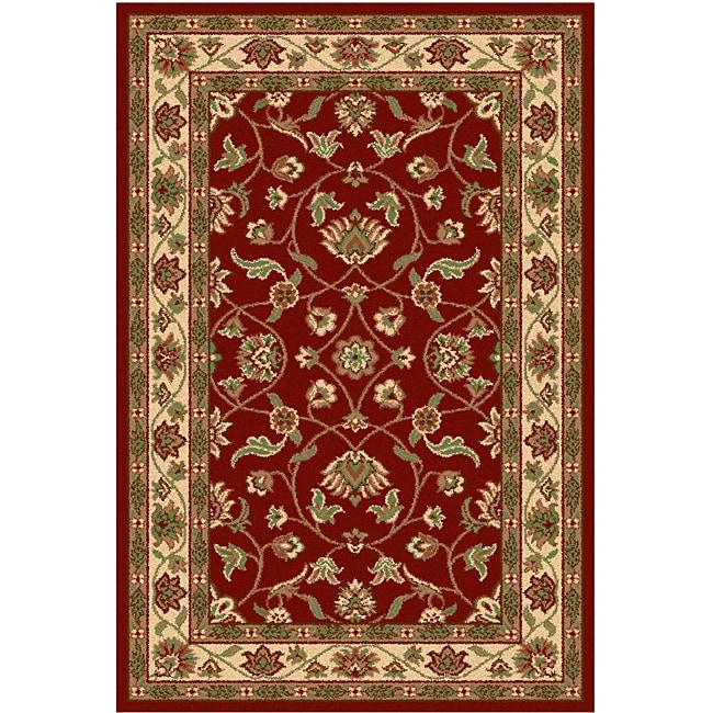 Oriental Melody Red Wool Rug (4' x 6')
