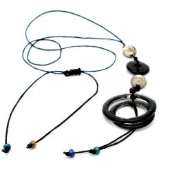 Cotton Black Fused Glass Rings and Beads Necklace (Chile)