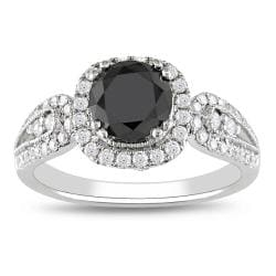 Miadora 14k Gold 1 1/2ct TDW Black and White Diamond Halo Ring (G-H, I2)