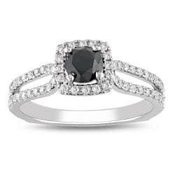 Miadora 14k Gold 1 1/5ct TDW Black and White Round Cut Diamond Ring (G-H, I2)