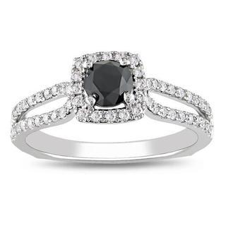 Miadora 14k Gold 1 1/5ct TDW Black and White Round Cut Diamond Ring (G-H, I2)