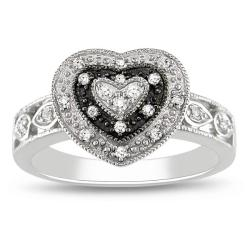 10k White Gold 1/6ct TDW Diamond Heart Ring (G-H, I3)