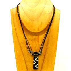Cotton and Black Zigzag Fused Glass Rectangle Necklace (Chile)