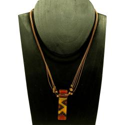 Cotton and Earth-tone Zigzag Fused Glass Rectangle Necklace (Chile)