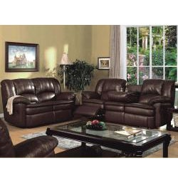 Vedora Leather Match Reclinging Sofa and Love Seat