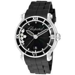 Chopard Women's 288525-3005 'Happy Sport Round' Black Rubber Strap Diamond Luxury Watch
