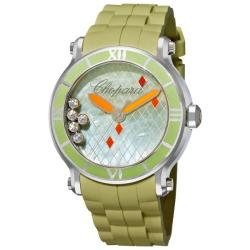 Chopard Women's 288524-3003 'Happy Sport Round' Green Rubber Strap Diamond Watch