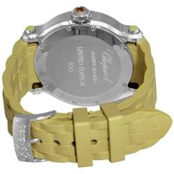 Chopard Women's 'Happy Sport Round' Green Rubber Strap Diamond Watch