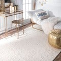 nuLOOM Handmade Braided Cable White New Zealand Wool Rug (8' x 10')