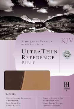 Holy Bible: KJV Ultrathin Reference Bible, Brown/Tan, Duotone, Simulated Leather (Paperback)