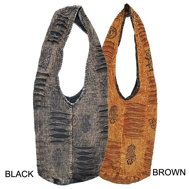 Cotton Razor-cut Washed Shoulder Bag (Nepal)