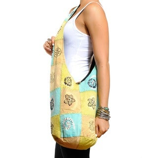 Cotton Summer Patch Handmade Button-closure Shoulder Bag (Nepal)