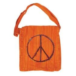 Cotton Peace Sign Messenger Bag (India)