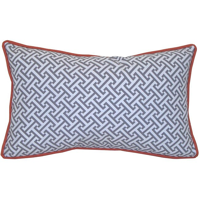 12 x 20-inch Maze Grey and Orange Decorative Pillow