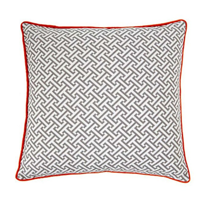 20 x 20-inch Maze Grey and Orange Decorative Pillow