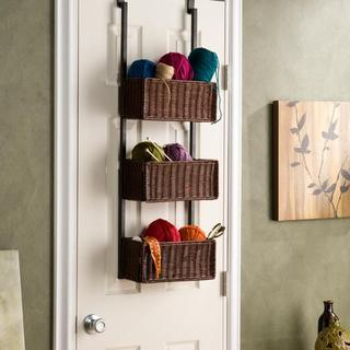 Upton Home Burnet Espresso Over the Door 3-tier Basket Storage