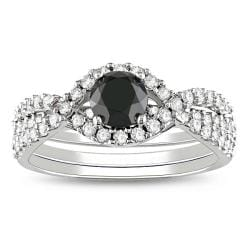 Miadora 14k Gold 1 1/3ct TDW Black and White Diamond Bridal Ring Set (G-H, I2)