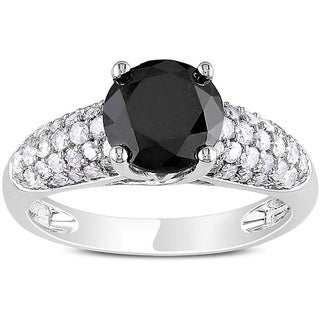 Miadora 14k Gold 2 1/10ct TDW Black and White Diamond Ring (H-I, I2-I3)