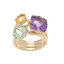 Beverly Hills Charm 14k Yellow Gold Amethyst, Citrine and Prasiolite Ring