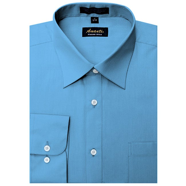 Men's Wrinkle-free French Blue Dress Shirt