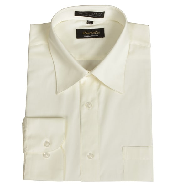 Men 39 S Wrinkle Free Off White Dress Shirt Overstock