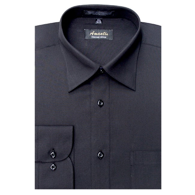 Men's Wrinkle-free Black Dress Shirt