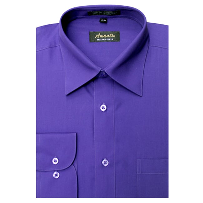 Men's Wrinkle-free Purple Dress Shirt