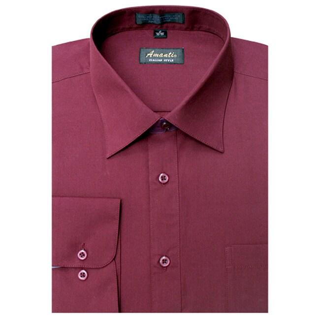 Men's Wrinkle -free Burgundy Dress Shirt