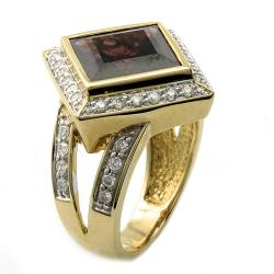 Beverly Hills Charm 14k Yellow Gold Rhodolite and 1/2ct TDW Diamond Ring