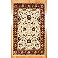 Indo Hand-tufted Ivory/ Rust Wool Rug (5' x 8')