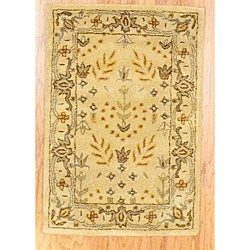 Indo Hand-tufted Gold Wool Rug (2' x 3')