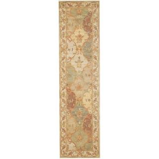 Herat Oriental Indo Hand-tufted Ivory/ Brown Wool Rug (2'6 x 10')
