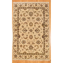 Afghani Hand-knotted Beige Oushak Wool Rug (5'8 x 8'9)