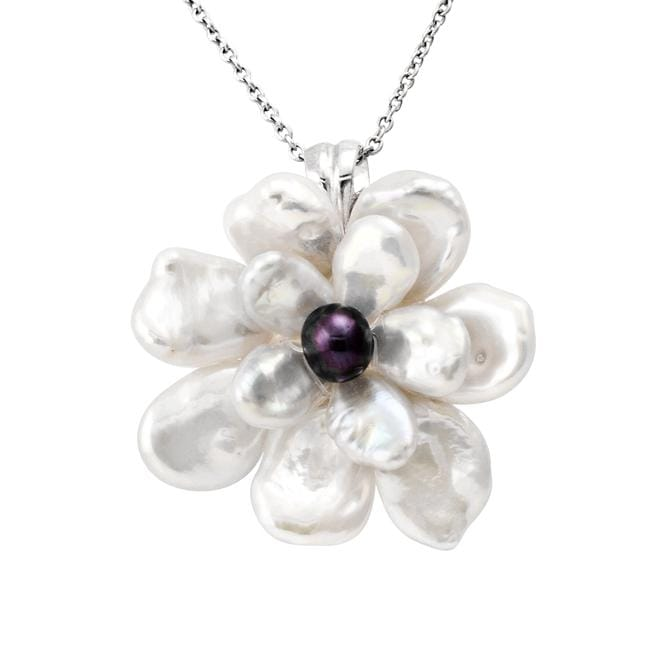 Sterling Silver White Keshi and Black Freshwater Pearl Flower Necklace (4-10 mm)