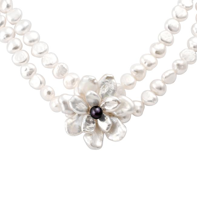 Sterling Silver White Keshi and Black FW Pearl Flower Necklace (6-10 mm)