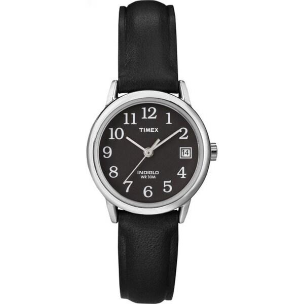 Timex Women's T2N525 Easy Reader Black Leather Strap Watch