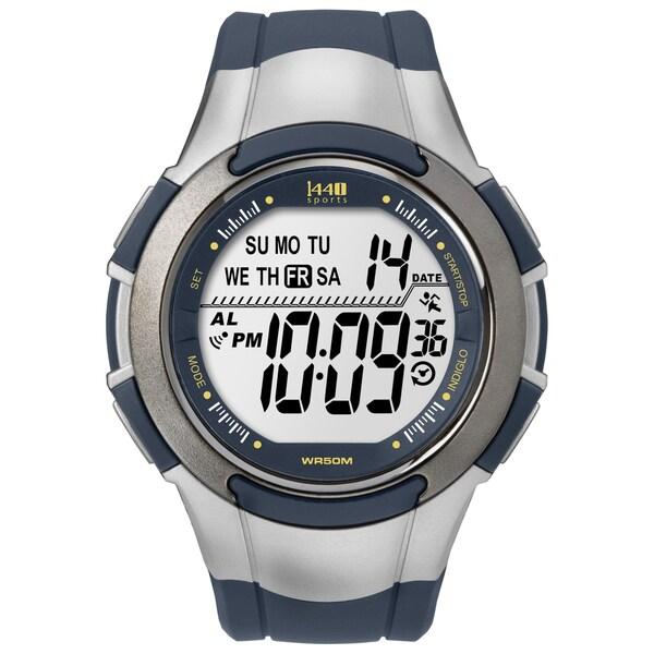 Timex Men's T5K239 1440 Sports Digital Navy/ Silvertone Watch