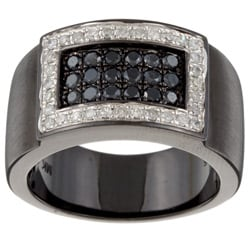 Black Silver Men's 7/8ct TDW Black and White Diamond Band (J, I2-I3)
