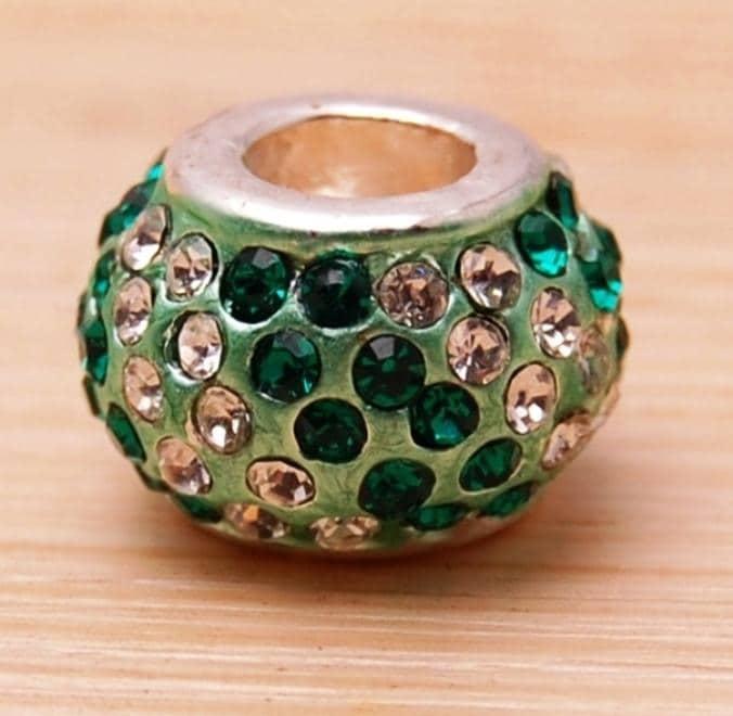 Crystal Rhinestone Emerald Green and Clear Charm Bead