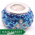 Crystal Rhinestone Blue and Clear Charm Bead
