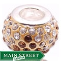 Crystal Rhinestone Brown and Clear Charm Bead