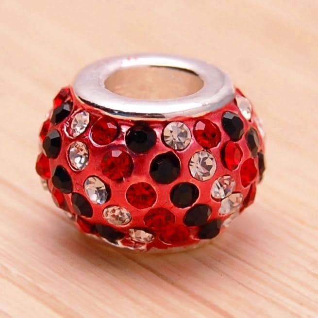 Red and Black Crystal Rhinestone Charm Bead