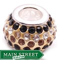 Crystal Rhinestone Gold and Black Charm Bead