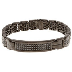 Black Silver Men's 1 1/2ct TDW Black Diamond Bracelet