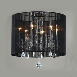 Indoor 6-light Black Shade Chrome Flushmount Chandelier