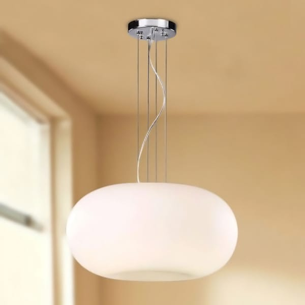 Indoor 3-light Milky White Glass Shade Pendant Chandelier