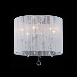 Indoor 6-light White Shade Chrome Flushmount Chandelier