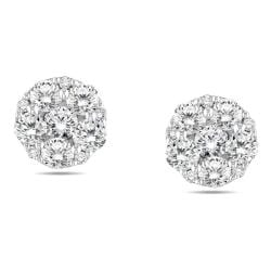 Miadora 10k White Gold 3/4ct TDW Cluster Diamond Earrings (G-H, I1-I2)