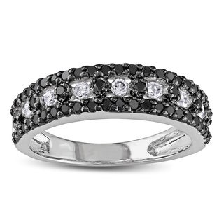 Miadora 10k White Gold 3/4ct TDW Black and White Diamond Ring (I-J, I2-I3)